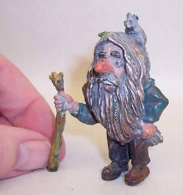 Vintage COLD PAINTED BRONZE TROLL with MOUSE/FROG Gnome MYTHICAL Folklore