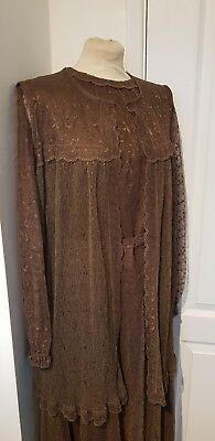 Stunning vintage lace style Peggy French Couture dress & waistcoat size 16