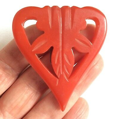 Vintage Art Deco Carved Cherry Red Tested Bakelite Dress Clip signed USA