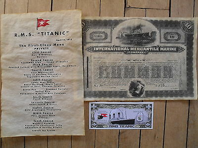 set Titanic reproduction first class menu and stock certificate and paper money