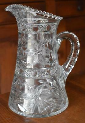 Gorgeous Antique Wheel Etched Floral Motif Cut Glass Handled Pitcher