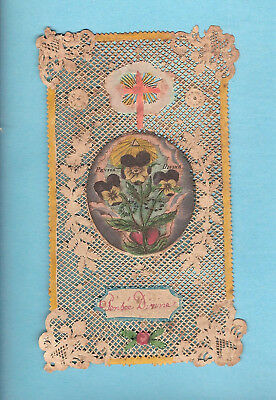 Image Pieuse Ancienne Genre Canivet Pensee Divine / Santino Holy Card