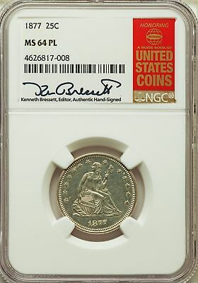 1877 US Silver 25C Seated Liberty Quarter - NGC MS64 PL
