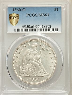 1860-O US Seated Liberty Silver Dollar $1 - PCGS MS63