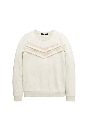 V by Very Trim Crew Sweater in Cream Size 11-12 Years