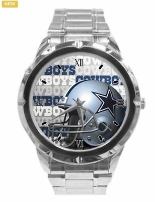 NFL 5X World Champ Dallas Cowboys Mens Watch with a Chrome Stainless Steel band.