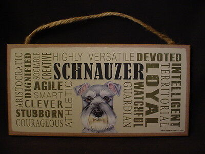 SCHNAUZER Subway Style Dog SIGN 5 X 10 wood WALL PLAQUE uncropped gray puppy NEW