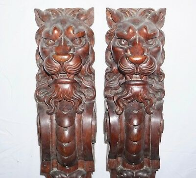 """Antique Hand Carved Lions Griffins Mahogany Mantel Brackets 40"""" Ornate"""