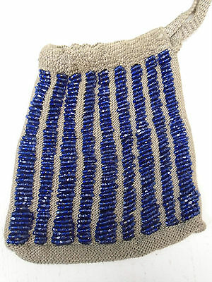Antique Vintage Crochet Purse With Rows of Hexagon Cobalt Hand Cut Glass Beads