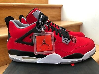 32eca1976910 NIKE AIR JORDAN Retro 4 Toro Bravo Fire Red White Black Cement Ds ...