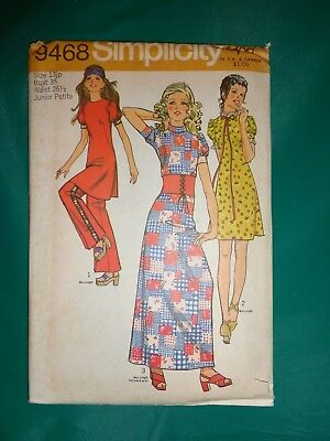Simplicity Sewing Pattern 9468 70's Juniors Retro Dress & Pants in 2 Lengths