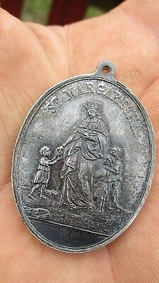 RARE OLD ANTIQUE  SACRED HEART of JESUS and MARY GILDED MEDAL 1'7/8 IN.