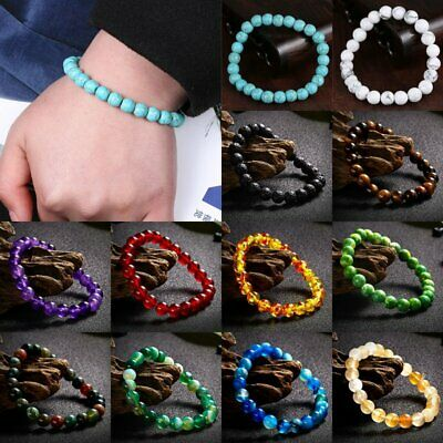 Yoga 7 Chakra Volcanic Stone Beads Bracelet Luck Men Women Natural Bead Bangle
