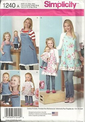 """Simplicity 1240 Misses' & Girl's Size S-L & 18"""" Doll Aprons Sewing Pattern"""