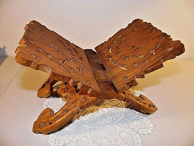 Hand Carved Wood Book Or Bible Folding Stand