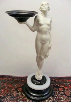 Art Nouveau Female Metal Statue 28 Inches Tall Outstanding Vintage Piece