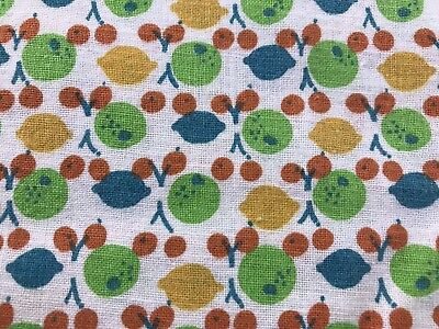 Vintage White With Green, Yellow & Red Fruit Print Feedsack (No Longer A Sack)