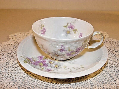 Vintage Theodore Haviland Limoges Cup And Saucer With Pink And Purple Flowers