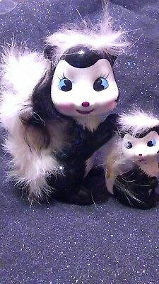 SKUNK-FIGURINEs -momma and baby with-FUR-Tail-VINTAGE-CERAMIC  by Enesco