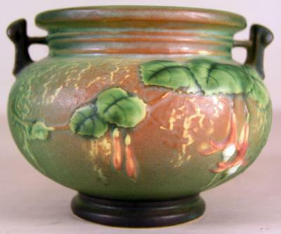 Vintage Unknown Roseville Pot Vase With Leaves And Hard To Read Marks On Base