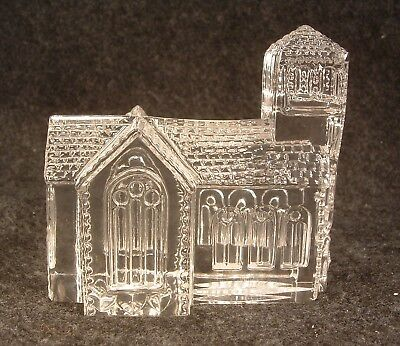 Waterford Crystal Glass Lismore Village Church Paperweight