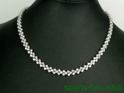 NWOT Stunning Silver Graduated CZ Eternity Tennis Necklace Sterling 925 Overlay