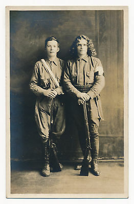 Young Soldiers Pose with their Rifles, Pleschner's Studio Postcard ca.1900 RPPC