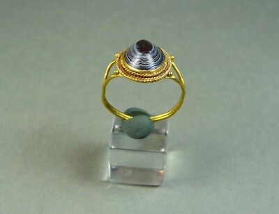 Ancient Gold & Agate Ring Eye Against Evil Shape Roman 100-300 Ad