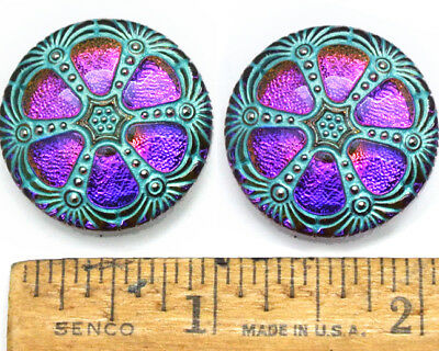 SHINING 27mm Vintage Czech PURPLE FIRE AB Glass TURQUOISE Domed WINDOW Buttons 2