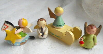 4Pc Vintage Miniature ERZGEBIRGE Wood Angel LOT Sled STAR Rocking Horse Musician
