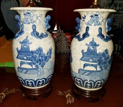 """Pair Beautiful Lg Antique Vintage Chinese Blue & White Table Lamps 33"""" w/Finial"""