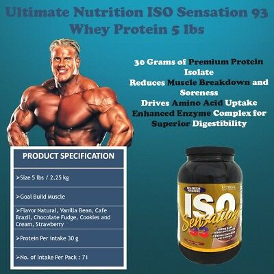 Ultimate Nutrition ISO SENSATION 93 Whey Protein Isolate 5 lb PICK FLAVOR