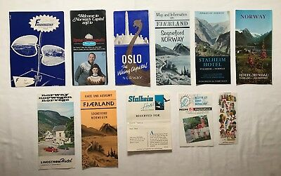 22 1960's Norway & Denmark Sightseeing Travel Brochures, Maps & Postcards