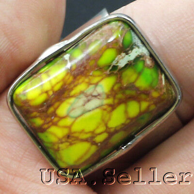 42CT100% Russia Natural Green Jasper Square Ring with Adjustable Hole D682
