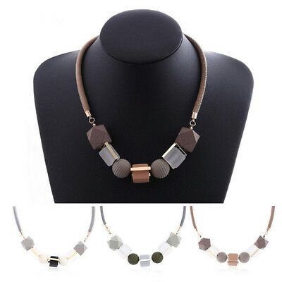 Geometrical Necklace Statement Pendants Wood Beads Women Girl Necklaces Jewelry