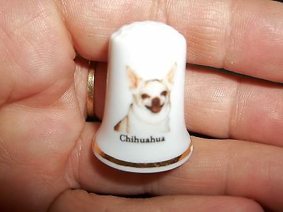 vintage CHIHUAHUA Dog Collectible ceramic Thimble figurine Lim.Edition