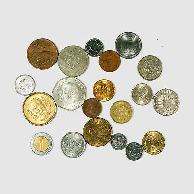 20 different types Mexico coins circulated-Unc.