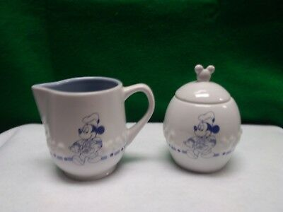 Disney, Mickey Mouse Gourmet Chef, White and Blue, Sugar Bowl & Creamer Set