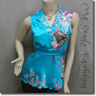 * Japanese Kimono Sleeveless Floral Silky Satin Blouse Top Blue M