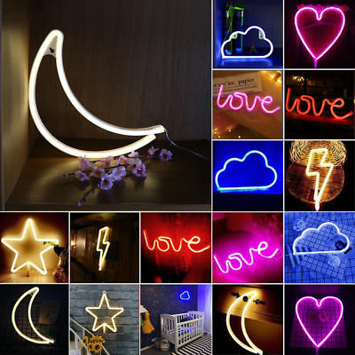 DIY Neon Light LED Sign in Lightning Heart Cloud Moon Shape Poster Wall Decorate