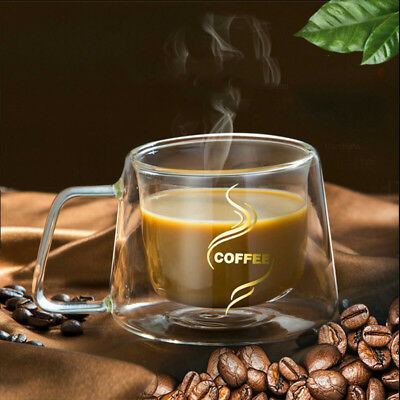 200ml Double Wall Insulated Thermo Glass Espresso Cups Mugs Coffee Cappuccino
