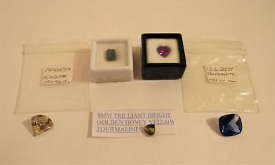 Precious Gemstones Lot 5 pc. Tourmaline Kunzite Tanzanite Loose Gem Collection