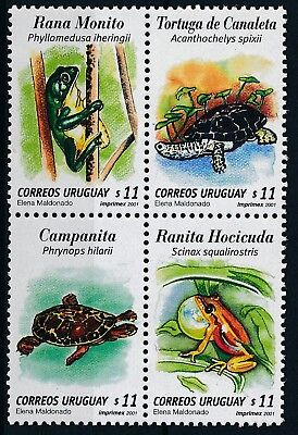 [H15120] Uruguay 2001 FROGS & TURTLES Good set BLOCK of stamps very fine MNH