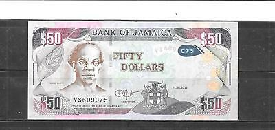 Jamaica #2015 $50 Dollars Vf Circ Banknote Paper Money Currency Bill Note