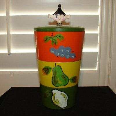Vintage 50's Snack Canister Set with Holt Howard Pixie Finale -Kitchen Pixieware