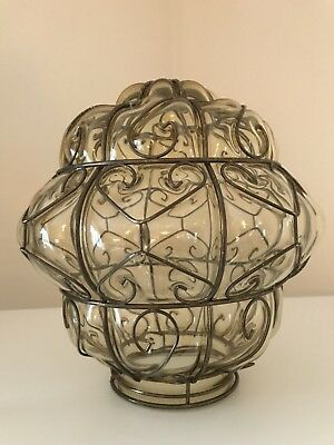 Vintage Italian Murano Glass Lantern Ceiling Light Decorative Wire Casing