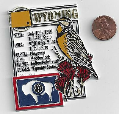 WYOMING  STATE MONTAGE FACTS MAGNET with state  bird  flower  and flag,