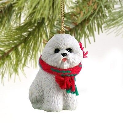 BICHON FRISE w/ Scarf dog HAND PAINTED ORNAMENT Resin Figurine CHRISTMAS Puppy