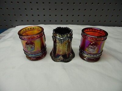 Lot Of Three Vintage Red And Blue Carnival Glass Toothpick Holders