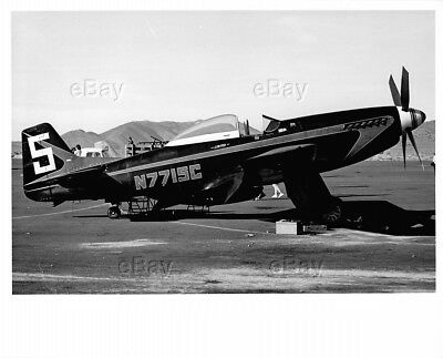 Vintage Aircraft Photo P-51 Mustang Ww2 Post War Racer Racing Flyer N7715C Plane